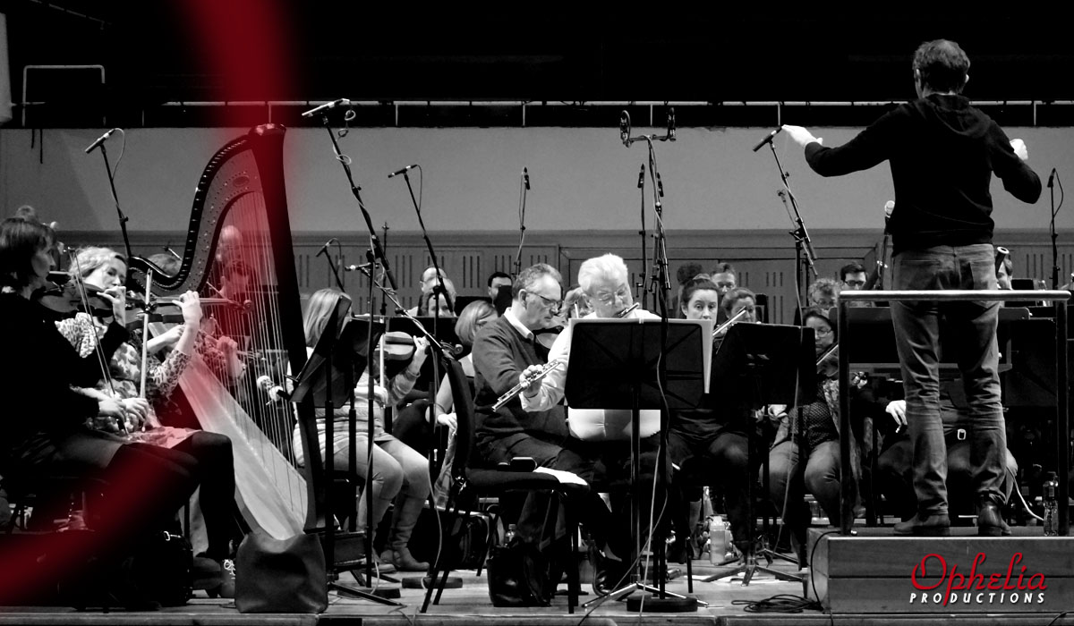 Sir James Galway and the RTE NSO, recording Bill Whelan Linen and Lace, produced by Rachel Smith, Ophelia productions